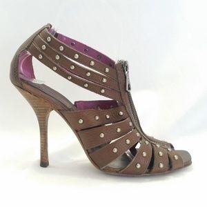 BCBG MaxAzria Size 8B Brown Strappy Sandal Studded